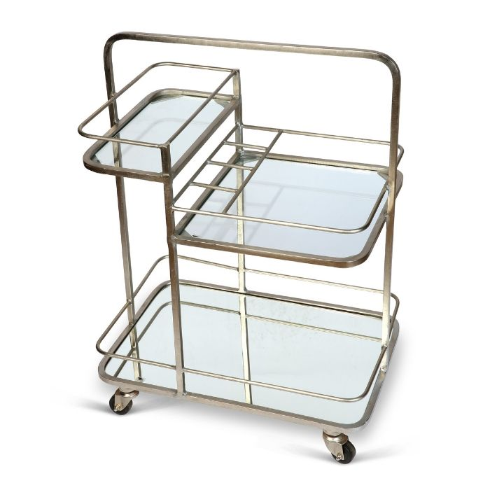 3 Tier Drinks Trolley In Antique Silver Finish