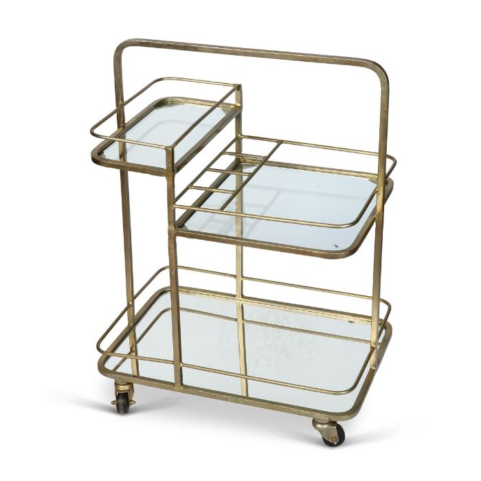 3 Tier Drinks Trolley In Antique Gold Finish