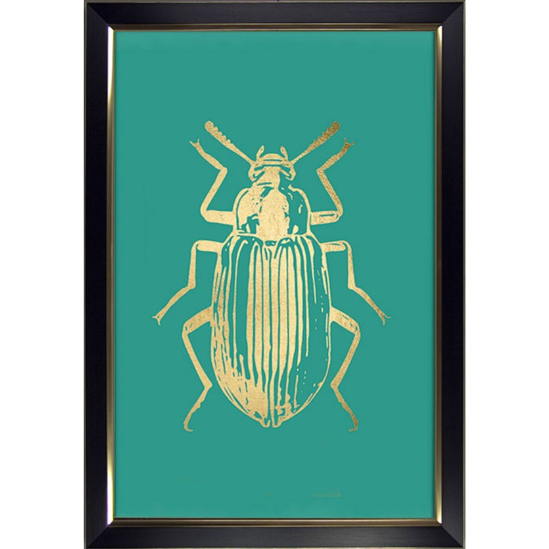 Gold Insect On Green 2