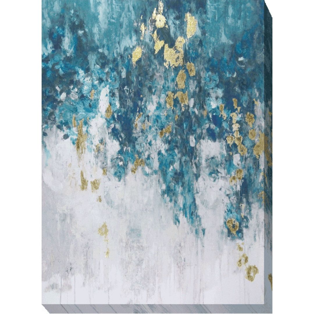 Blues With Gold Abstract Canvas