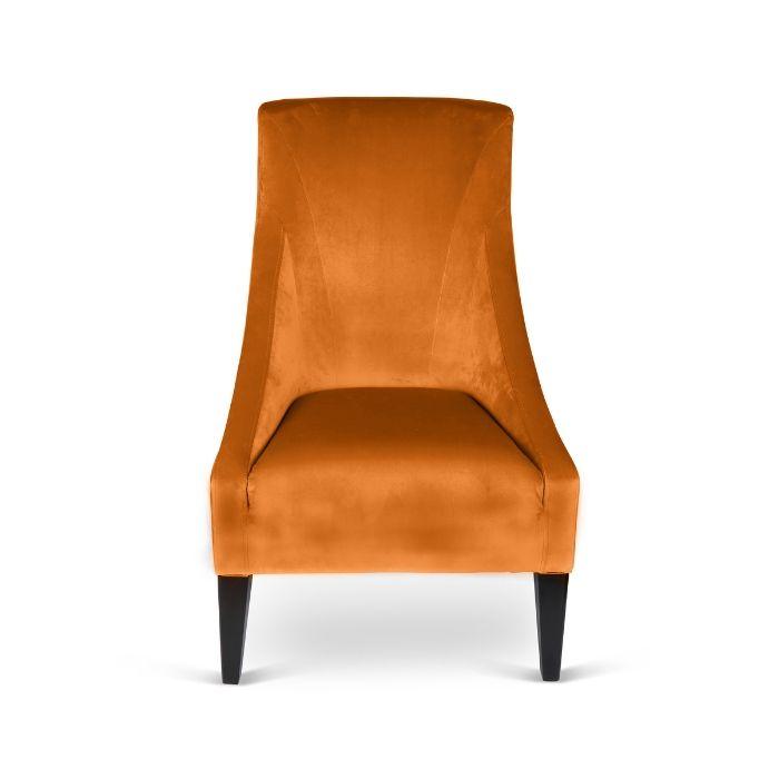 Velvet Chair In Burnt Orange