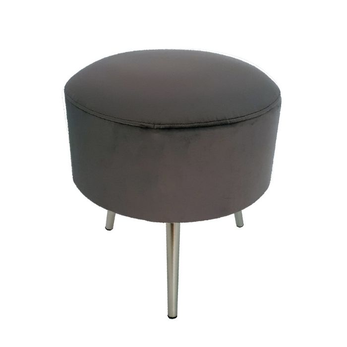 Drum Stool In Dark Grey Velvet