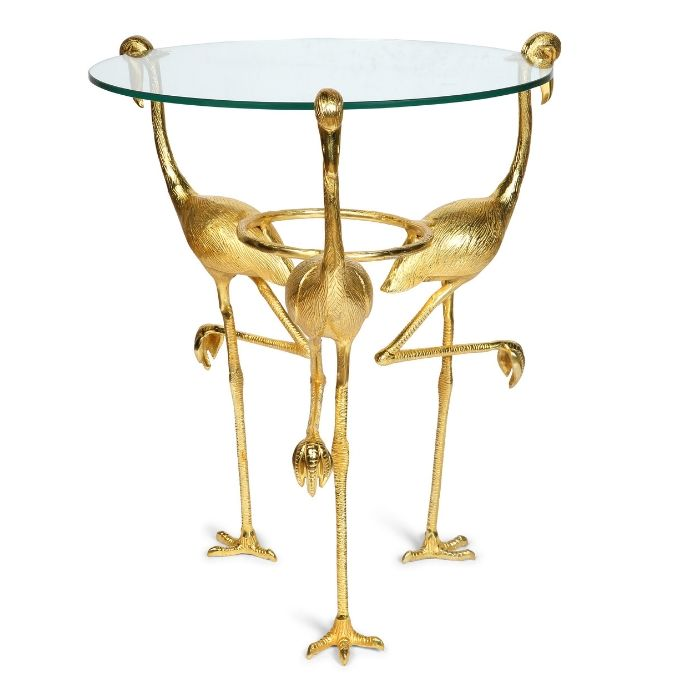 Flamingo Glass Top Table In Gold Finish