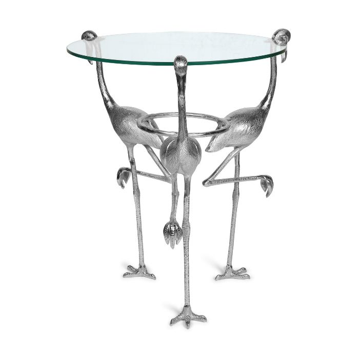 Flamingo Glass Top Table In Silver Finish