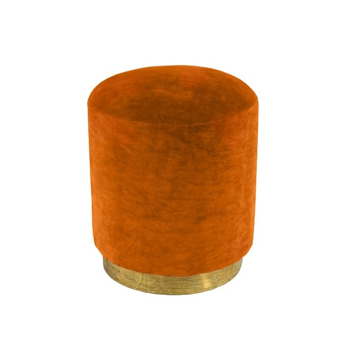 Round Footstool In Burnt Orange Velvet