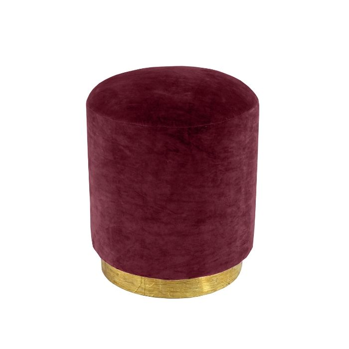 Round Footstool In Claret Red Velvet