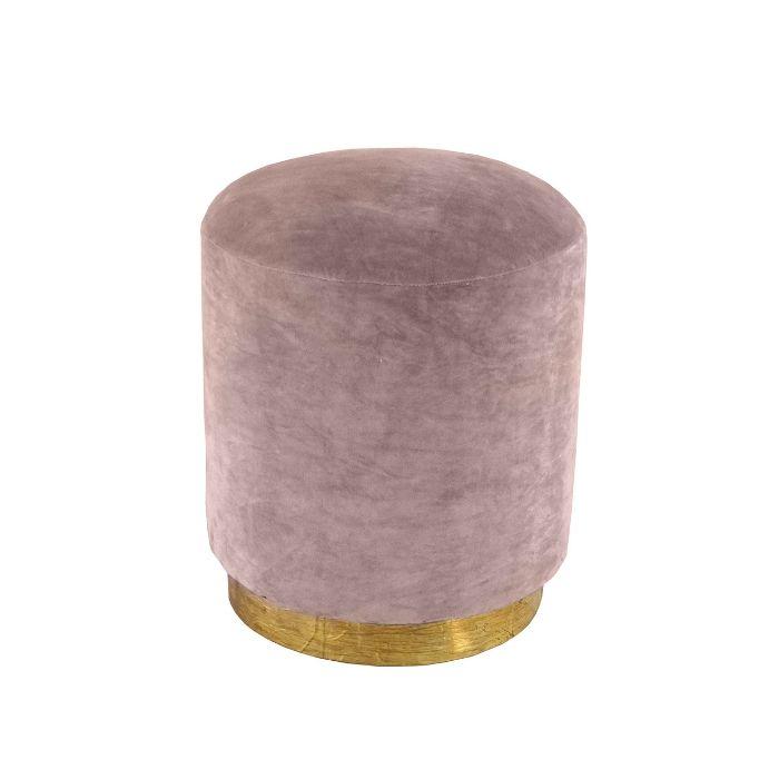 Round Footstool In Dusky Pink Velvet