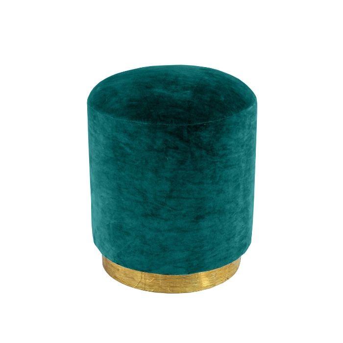 Round Footstool In Jade Green Velvet