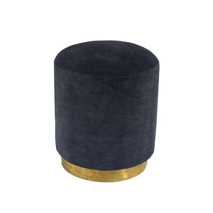 Round Footstool In Marine Blue Velvet