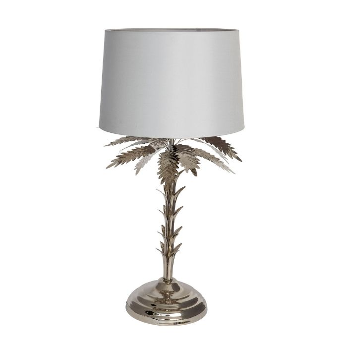 Palm Tree Table Lamp In Silver Finish