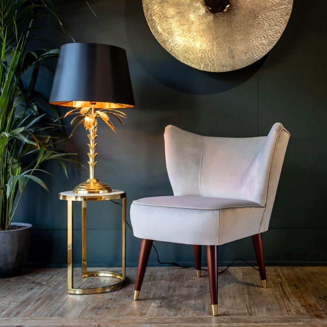 curved back velvet chair