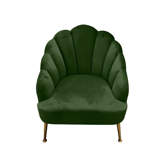 Shell Chair In Army Green Velvet