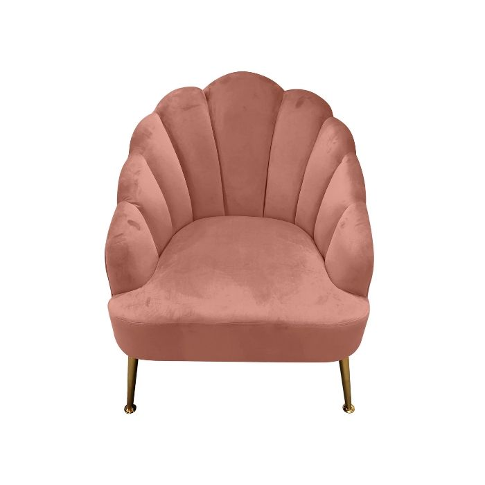 Shell Chair In Blush Pink Velvet