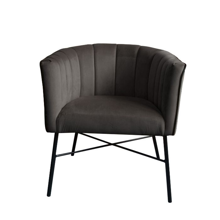 Modern Style Chair In Dark Grey Velvet