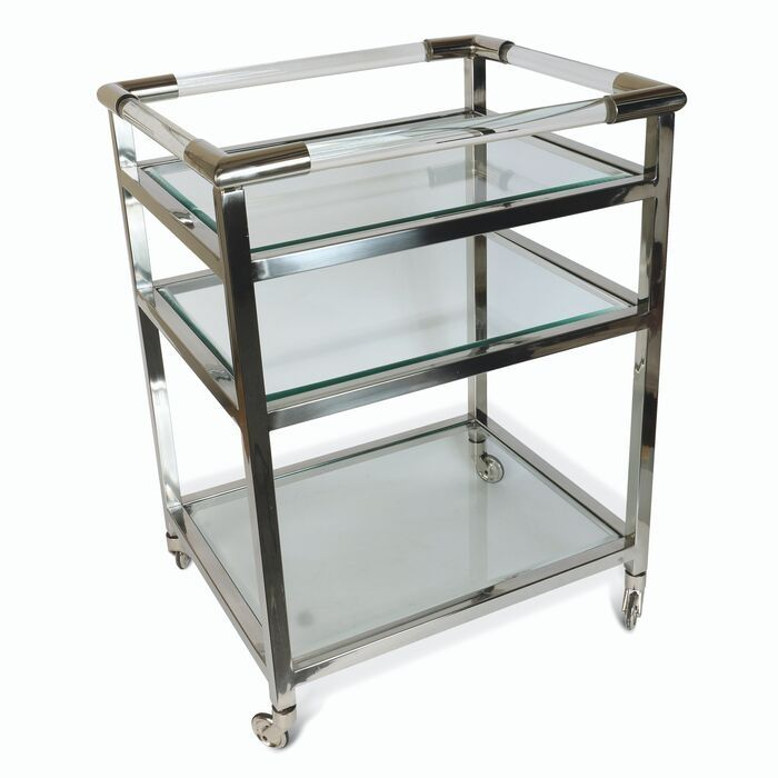 Art Deco Drinks Trolley In Nickel Finish