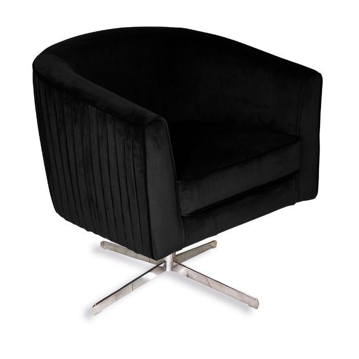 Rotating Chair In Ebony Black Velvet