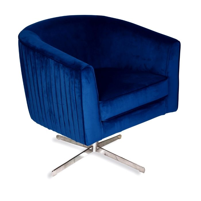 Rotating Chair In Marine Blue Velvet