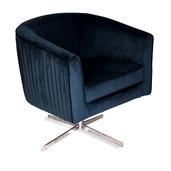 Rotating Chair In Navy Blue Velvet