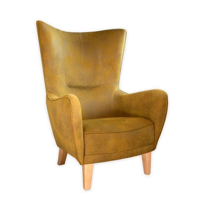 Wing Chair In Mustard Yellow Velvet