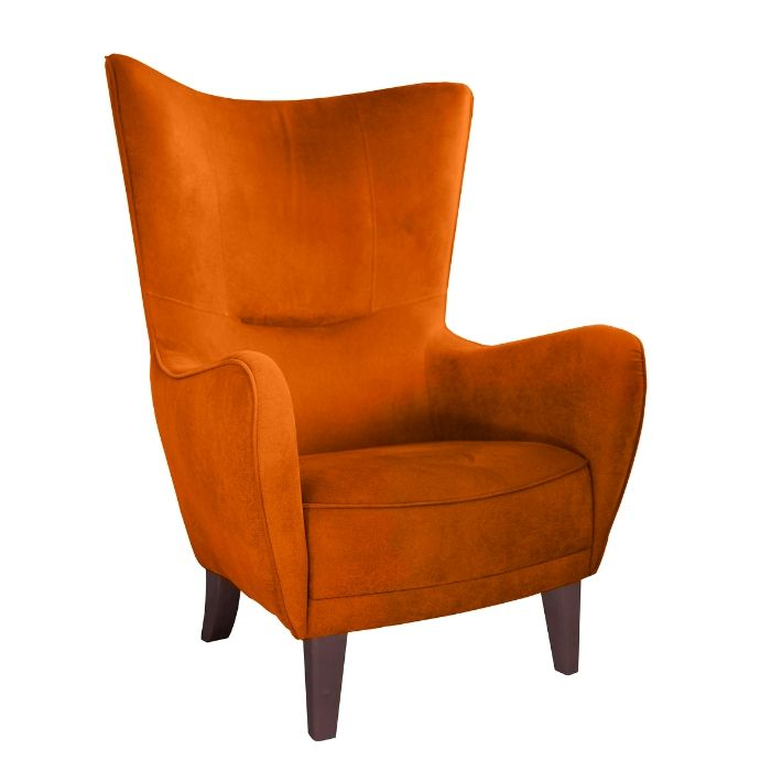 Wing Chair In Burnt Orange Velvet