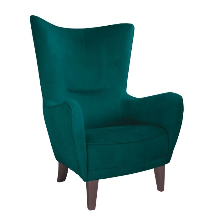 Wing Chair In Jade Green Velvet