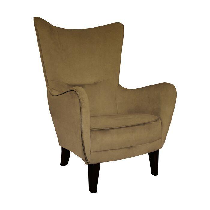 Wing Chair In Mink Velvet