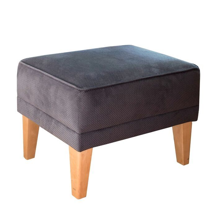 Dark Grey Velvet Footstool With Beechwood Legs