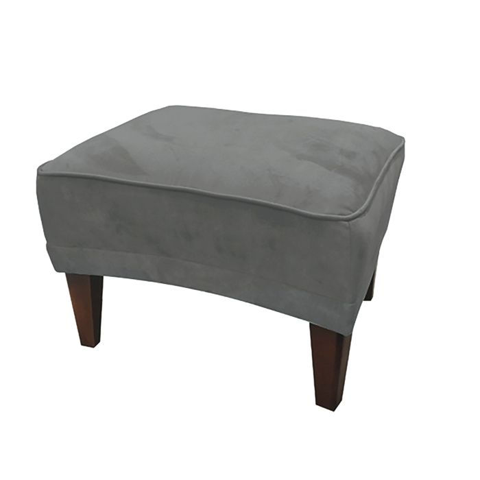 Footstool In Dark Grey Velvet
