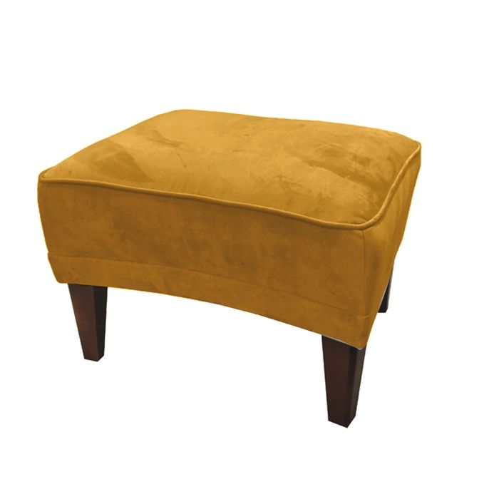 Velvet Footstool In Mustard Yellow
