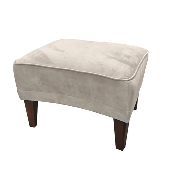 Footstool In Silver Grey Velvet