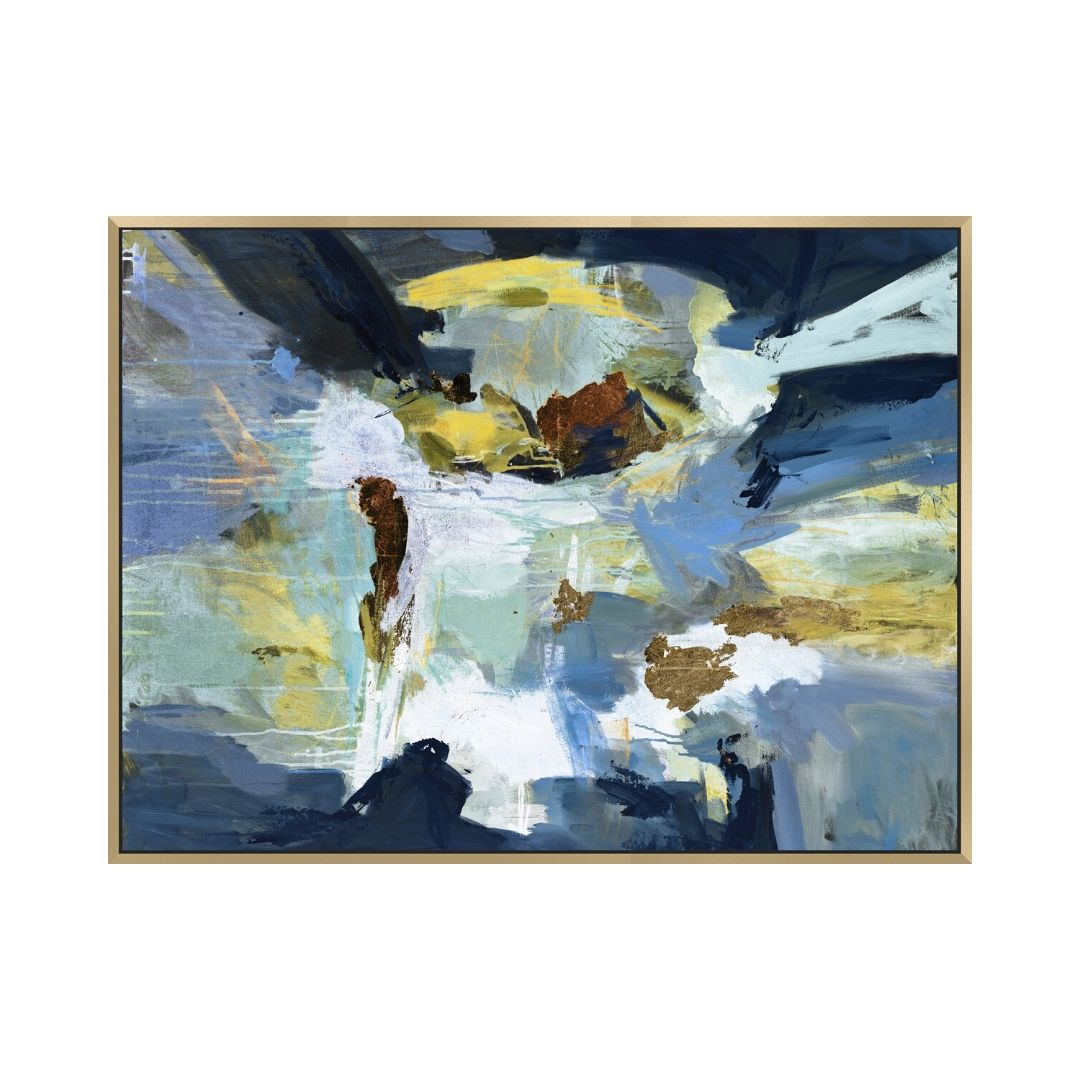 Multi Blue And Yellow Abstract Canvas