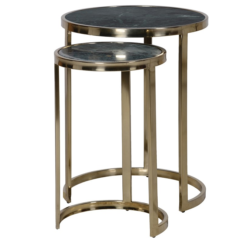 Green Marble Nesting Table Set