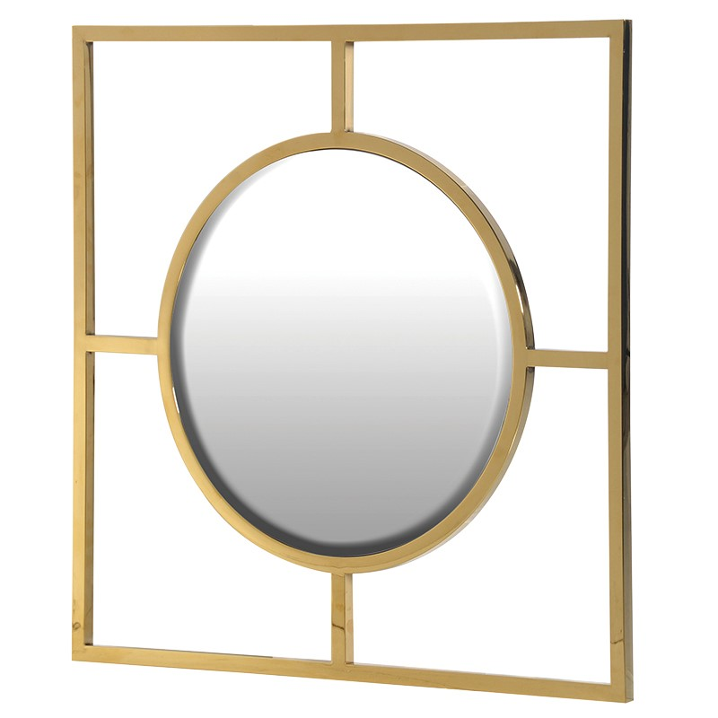 Square-Framed Gold Mirror