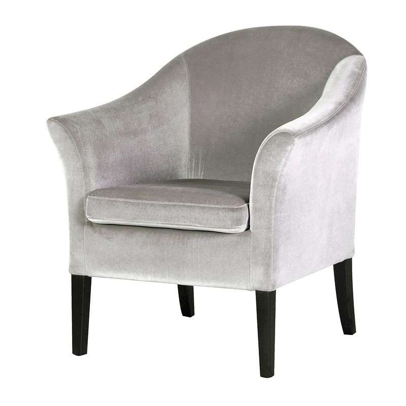 Silver Velvet Tub Chair