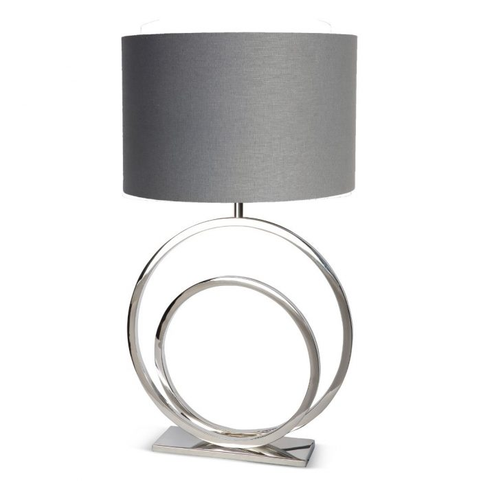Circle-shaped Table Lamp With Silver Shade