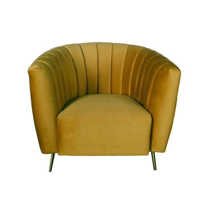 Deco Styled Chair In Amber Velvet