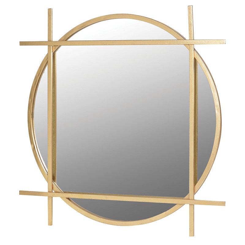 Brushed Gold Round Mirror