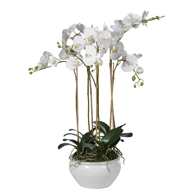 Tall White Orchid Faux Floral Arrangement