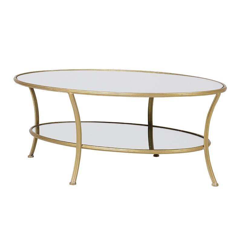 Oval Coffee Table With Gold Finish