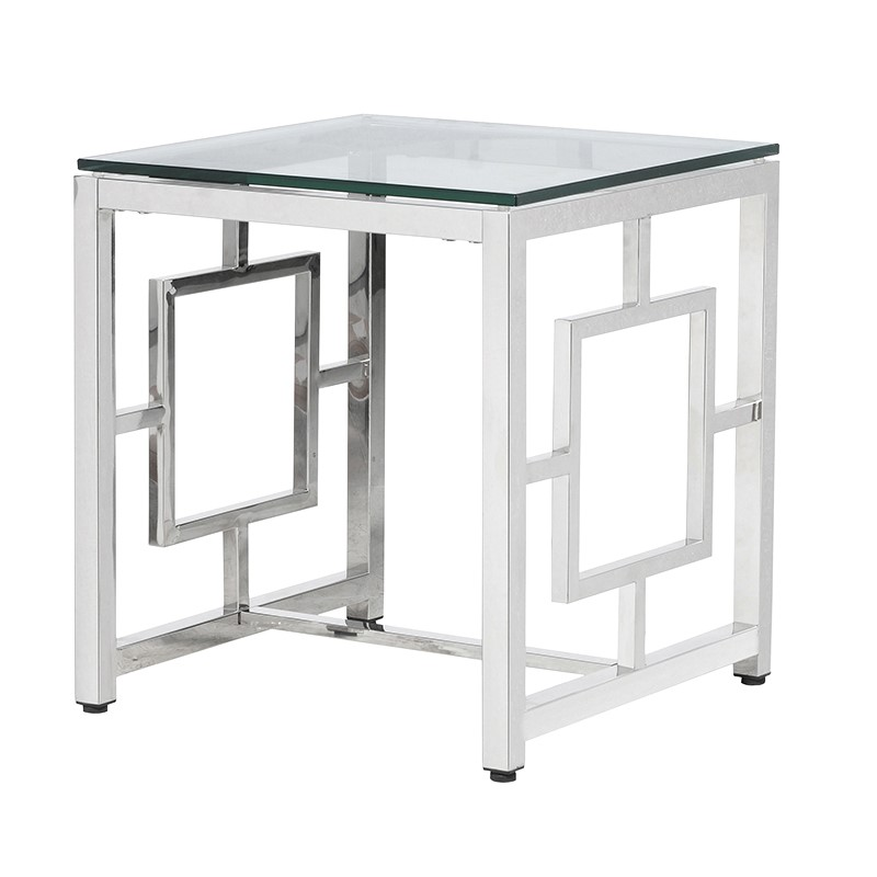 Stainless Steel End Table With Square Detail