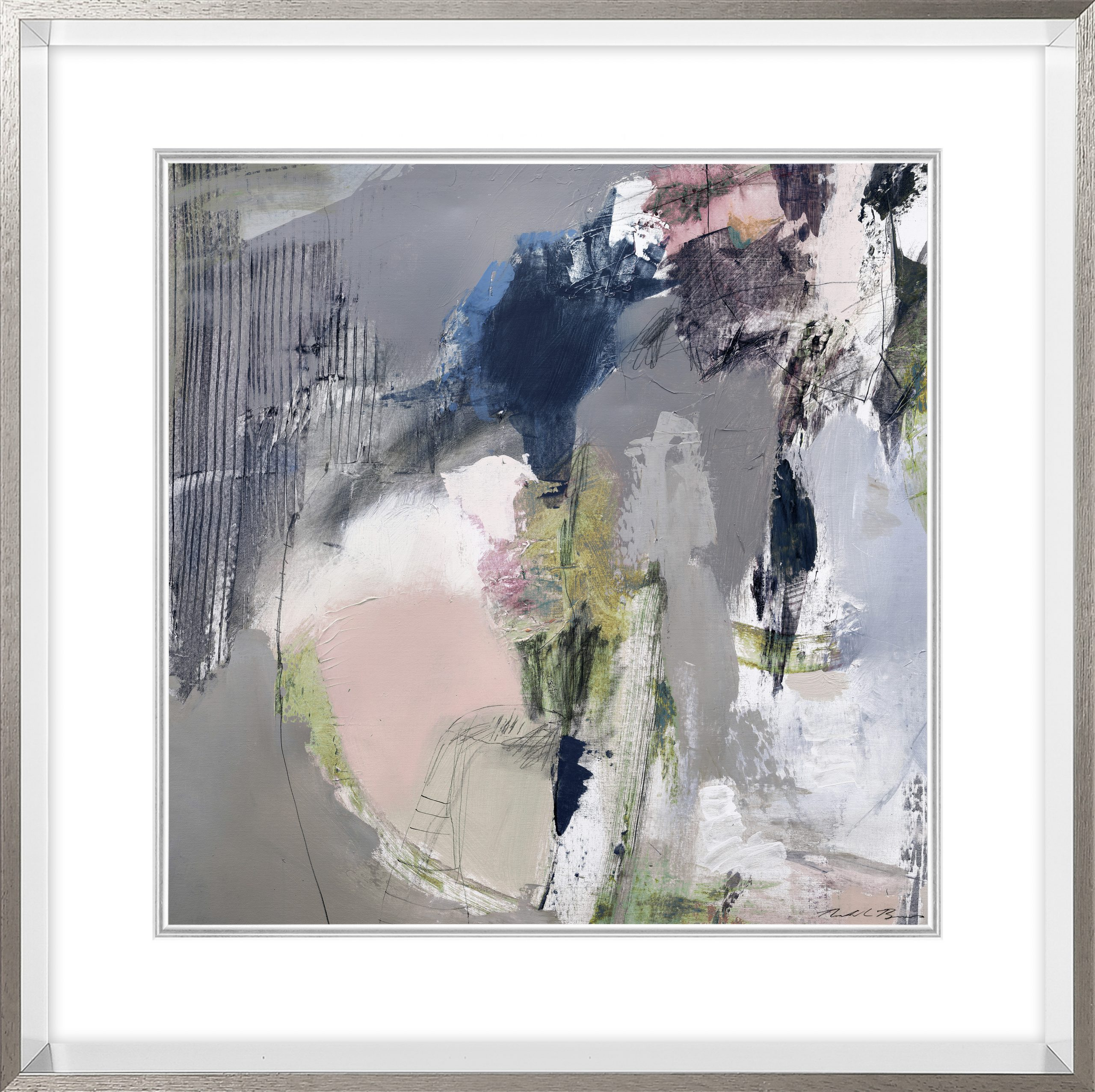 Framed Abstract Set In Grey And Pink