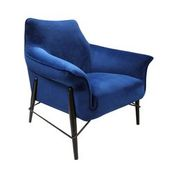 Metal Framed Accent Chair In Navy Blue Velvet