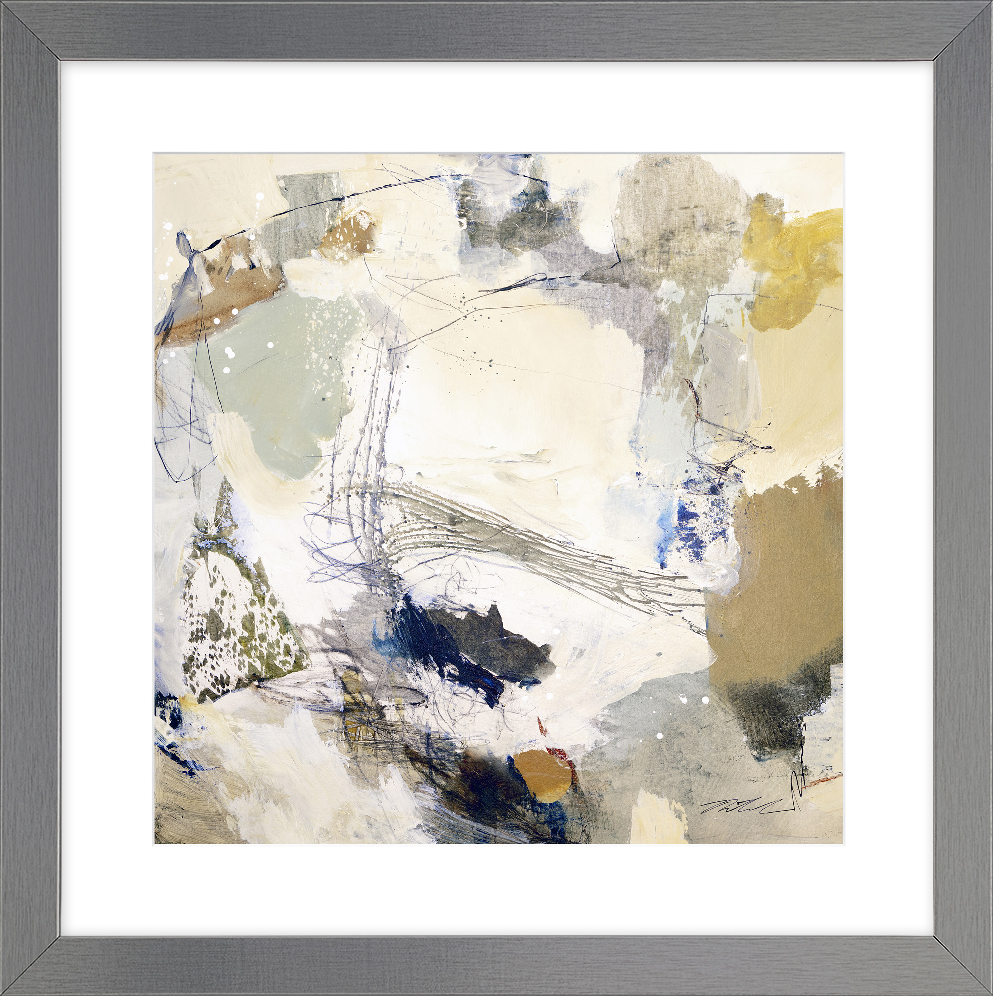 Multi Grey Abstract Framed Wall Art Set