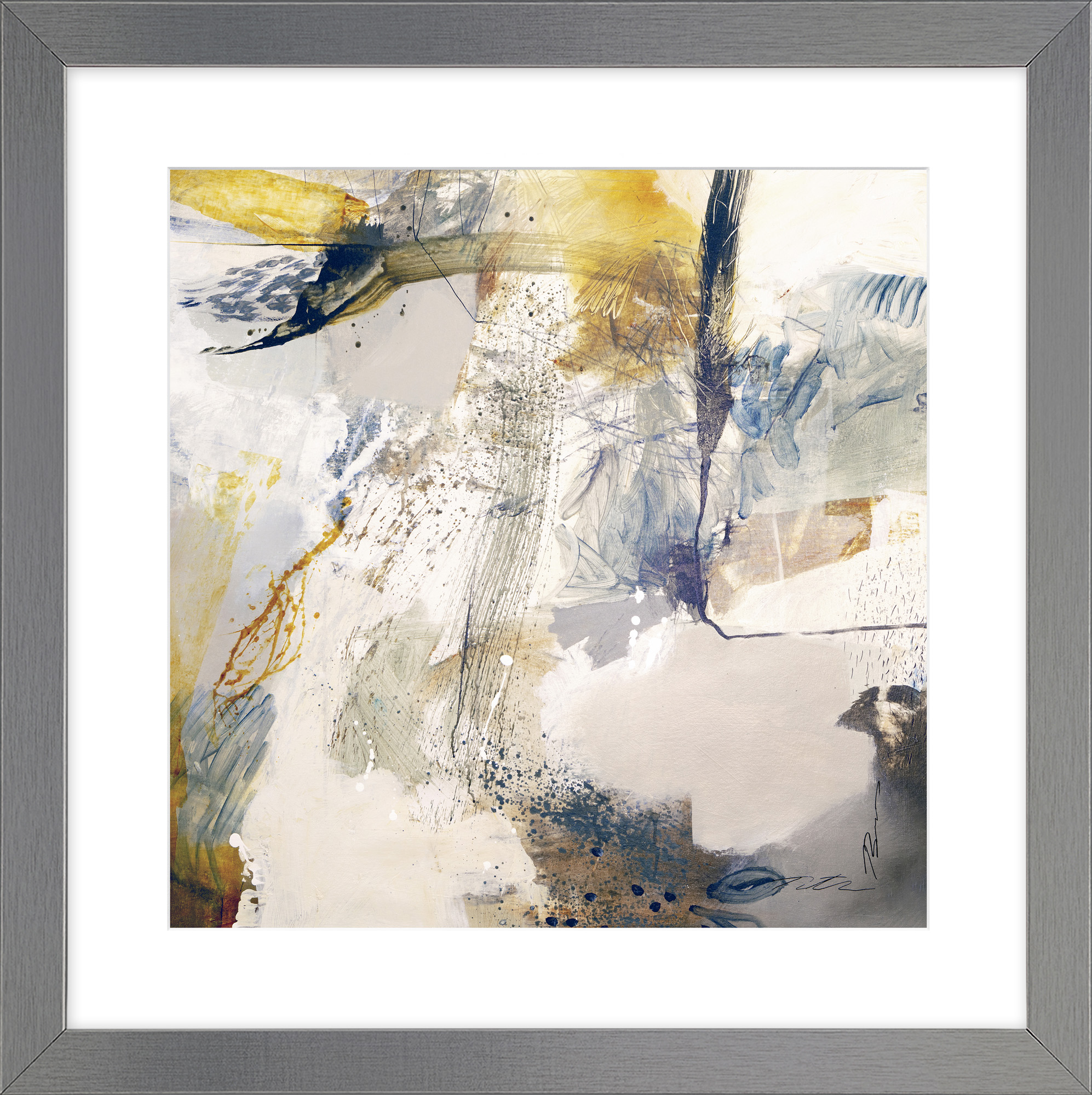 multi grey abstract framed print set with calm hues